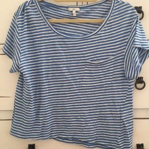 Joie blue and white striped cropped t shirt sexy